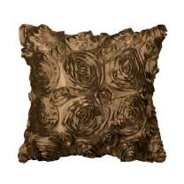 """PiccoCasa 3D Satin Rose Flower Throw Pillow Cover Shells,Arts Decorative Pure Color Roses Floral Cushion Covers for Couch,16"""" x 16"""", Coffee Color"""