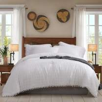 Lady Ann White Seersucker Comforter Set Queen with Pompom Fringe, Fluffy Bed Down Comforter Ultra Soft Cozy,Washed Microfiber Inner Fill Bedding 3 Pieces (1 White Comforter+2 Pom Pom Pillow Shams)