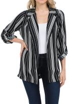 Auliné Collection Womens Casual Oversized Open Front Boyfriend Cardigan Blazer