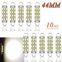 "TORIBIO 44mm Bright White 6000k 12V Festoon LED Bulb, 12SMD 1210 Rigid Loop 1.73"" Interior Dome Map LED Lights Courtesy Light 561 562 567 564 Pack of 10"
