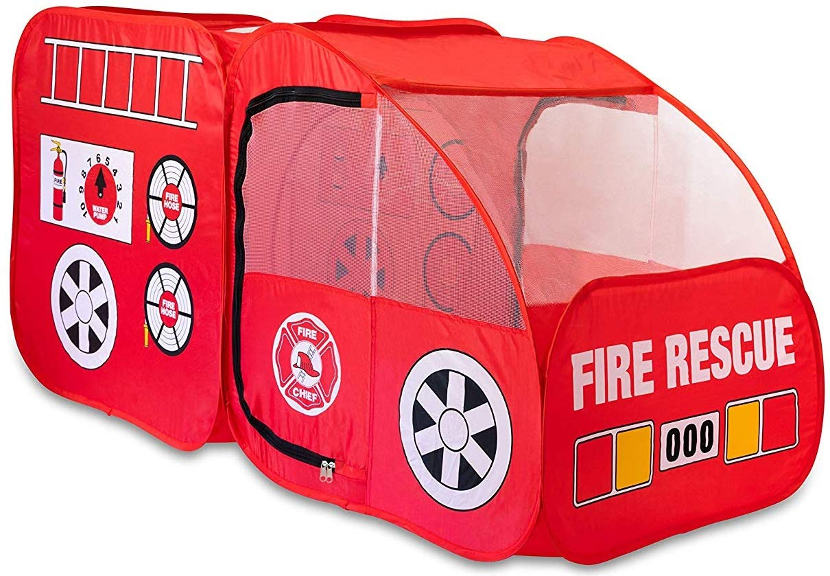 Fire Truck Tent for Kids, Toddlers, Boys & Girls – Red Fire Engine Pop Up Pretend Playhouse for Indoors & Outdoors – Quick Set Up, Weather Proof Fabric, Foldable & Spacious