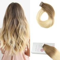 Moresoo 14 Inch Tape in Hair Extensions Human Hair Color #6 Medium Brown Fading to #613 Bleach Blonde Remy Straight Hair 20PCS/50G Seamless Skin Weft Hair Extensions
