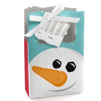 Big Dot of Happiness Let It Snow - Snowman - Holiday Bag - 12 Count