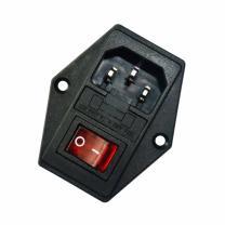 JOYNANO 3-in-1 Inlet Module Plug 5A Glass Fuse Rocker Switch Red Light 3-Pin IEC320 C14 Male Power Socket Screw Mount Pack of 2