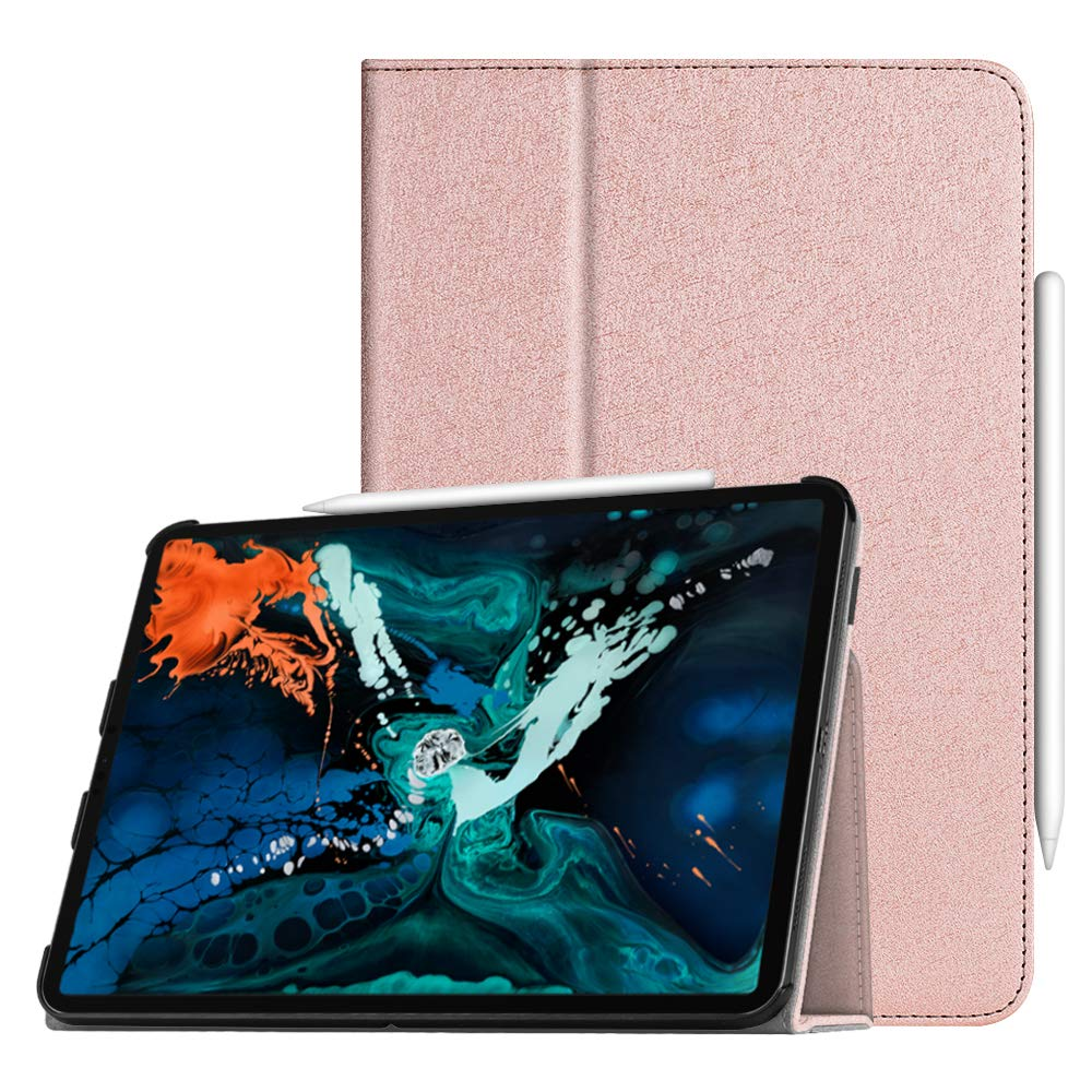 """Fintie Folio Case for iPad Pro 12.9"""" 3rd Gen 2018 [Supports 2nd Gen Pencil Charging Mode] - Vegan Leather Folio Smart Stand Cover with [Secure Pencil Holder] Auto Sleep/Wake, Glitter Pink"""