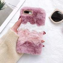 L-FADNUT for iPhone 7 Plus iPhone 8 Plus Furry Case Fashion Colorful Fuzzy Winter Fur Warm Plush Fluffy Fur Soft TPU Cute Luxury Comfy Faux Fur Case Stripe Stitching Colour Protective Cover Rose Red