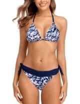 CharmLeaks Women Gradient Color Bikini Swimsuit Side Tie Two Piece Bathing Suit