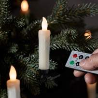 Lights4fun, Inc. Pack of 20 Ivory Wax Battery Operated Remote Control Flameless LED Christmas Candles with Tree Clips