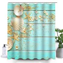 Uphome Beach Fabric Shower Curtain, Aqua Seashell and Starfish on The Coastal Cloth Shower Curtain Heavy Weighted Waterproof, Bathroom Sea Decorations, 60x72
