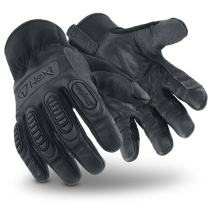 HexArmor Hex1 2125 Black Work Gloves with Light Impact Protection and Leather Palm, Large