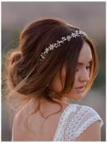 SWEETV Rhinestone Wedding Headband Hair Vine Headpieces Silver Birdal Hair Accessories for Brides