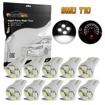 Partsam 10pcs 6000K White LED Light Bulb for Instrument Panel Gauge Cluster 4-3528-SMD 194 168 Miniature Wedge Dash Light Lamp