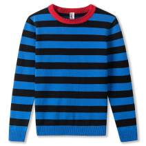 Kid Nation Boys Pullover Sweaters Stripes Sweatshirt Round Neck 100% Cotton for Kids 4-12Y