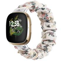 Liwin Scrunchies Bands Compatible with Fitbit Sense/Versa 3, Bands for Women and Girls, Elastic Printed Strap Accessories Replacement Scrunchy Wristband for Sense/Versa 3 Smartwatch