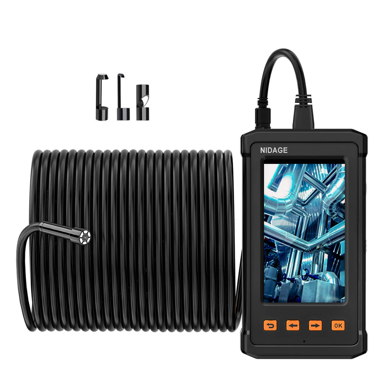 50FT NIDAGE Inspection Camera, 1080P HD Industrial Endoscope Borescope Camare with 4.3inch IPS Screen, IP67 Waterproof Pipe Duct Sewer Drain Snake Camera with Light, 2800mAh Battery, 8GB TF Card