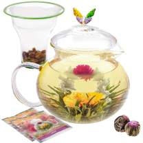 Teabloom Wings of Love Teapot - 40 oz. Borosilicate Glass Butterfly Teapot, Loose Leaf Tea Glass Infuser - 2 Free Blooming Tea Flowers Included