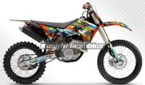 Kungfu Graphics Custom Decal Kit for 125 200 250 300 400 450 525 530 EXC EXC-F XC-W XCF-W 2008 2009 2010 2011, Black Orange