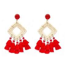 Rattan Tassel Earrings for Women Bohemian Statement Handmade Woven Drop Dangle Earrings Druzy Stud Earrings