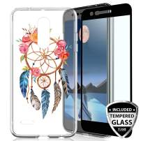 TJS Phone Case for LG K10 2018/K30/Premier Pro LTE/Harmony 2/Phoenix Plus/Xpression Plus, with [Tempered Glass Screen Protector] Slim TPU Matte Color Marble Transparent Clear Soft Skin (Catcher)