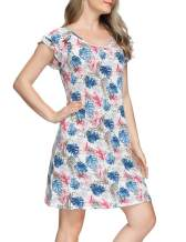 Zexxxy Nightshirts for Women Short/Long Sleeve Nightgowns V-Neck Henley Neckline Sleep Dress