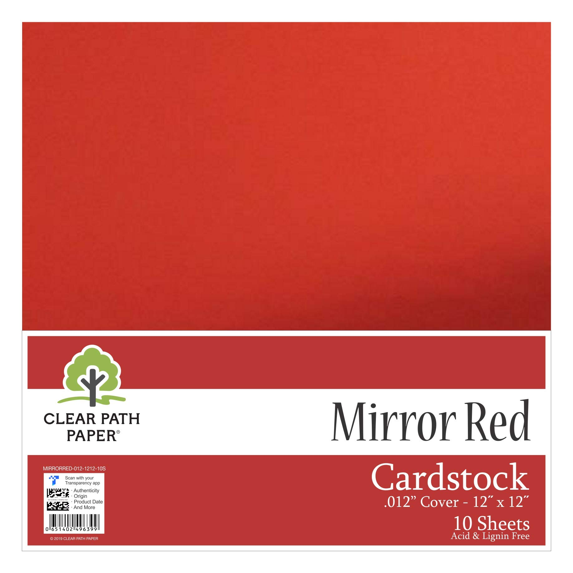 "Mirror Metallic Red Cardstock - 12 x 12 inch - .012"" Thick - 10 Sheets"