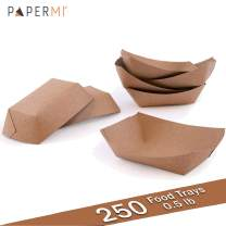 PaperMi Brown Paper Food Tray - USA Made 1/2lb Disposable Kraft Hot Dog Tray, Paper Food Trays for Picnics, Carnivals, Camping - Food Serving Tray Holds Hot and Cold Food - (250pcs)