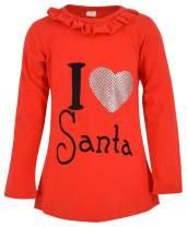 Unique Baby Girls I Heart Santa Christmas Holiday Shirt