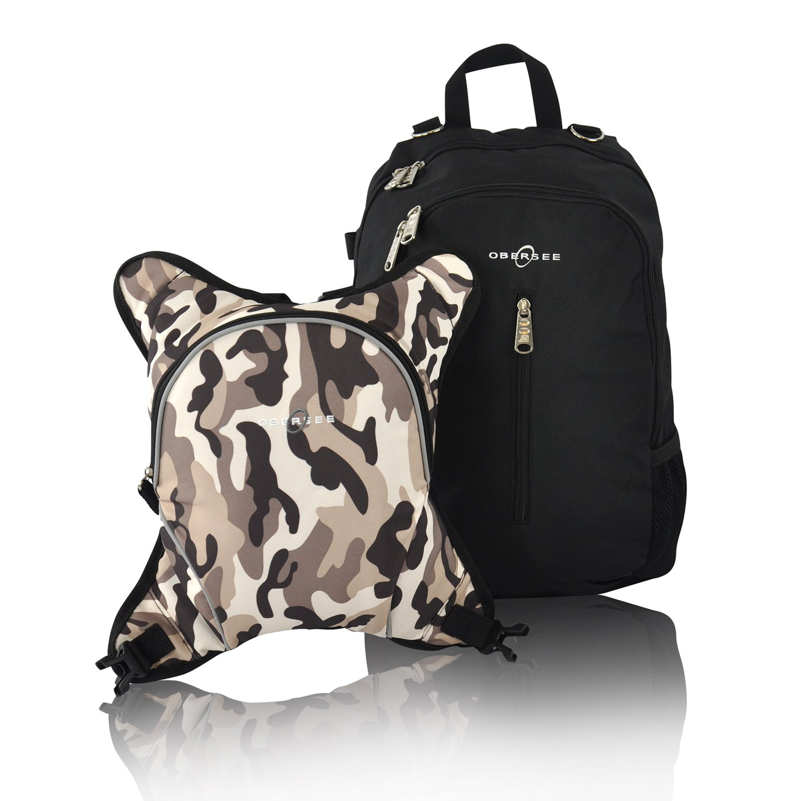Rio Diaper Backpack with Baby Bottle Cooler and Changing Mat, Shoulder Baby Bag, Food Cooler, Clip to Stroller (Black/Camo) - Obersee