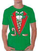 Awkwardstyles Men's Tuxedo Christmas Costume T-Shirt Santa Shirt