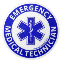 4-Pack 2 inch Reflective EMT Round Sticker for Emergency Medical Technician on Helmet, Equipment, Vehicle Waterproof Disinfectable Decal Small