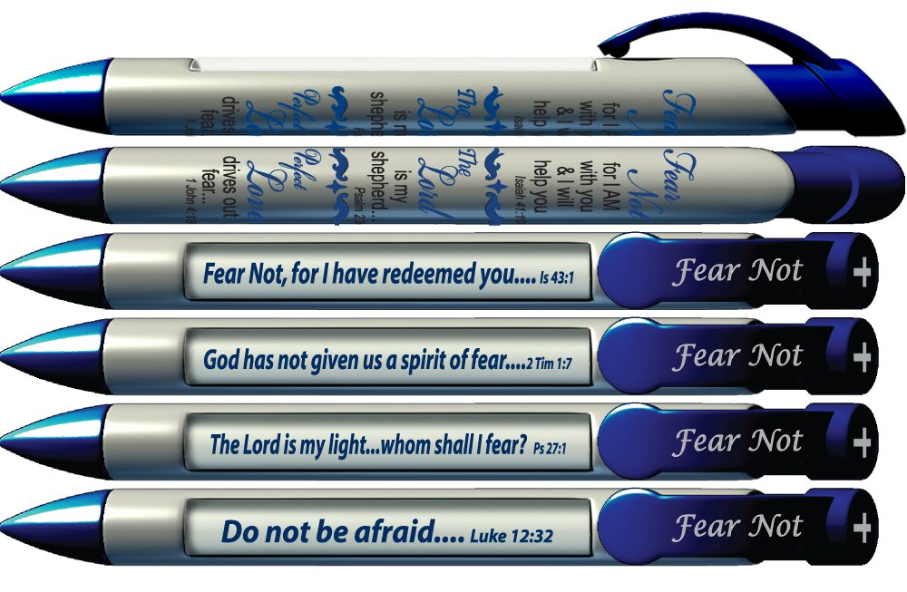 "Greeting Pen ""Fear Not"" Scripture Pens, Scripture Verses with Rotating Messages, 6 Pen Set (36054)"