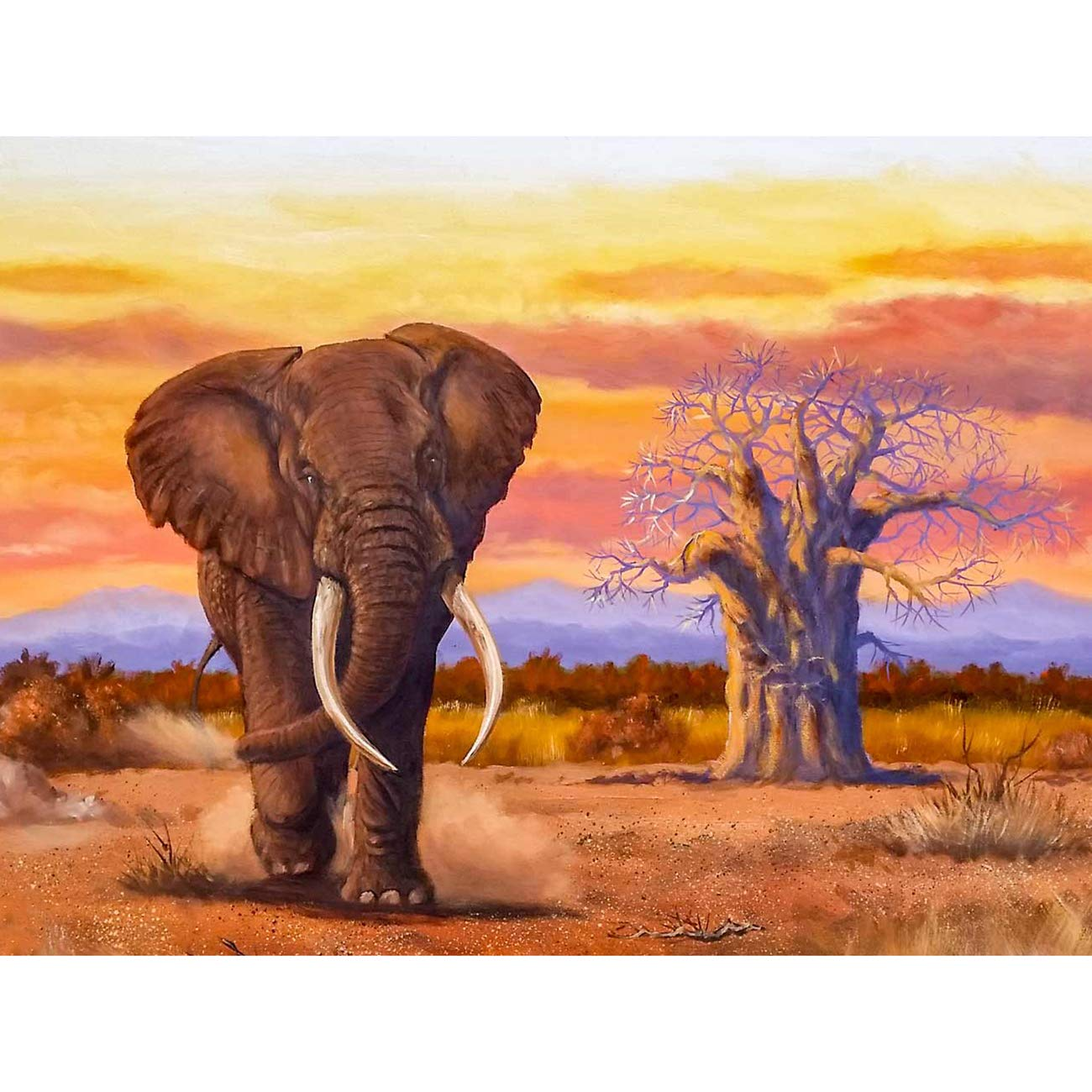 "SKRYUIE 5D Diamond Painting Elephant Full Drill Paint with Diamond Art, DIY Animal Painting by Number Kits Cross Stitch Embroidery Rhinestone Wall Home Decor 30x40cm (12""x16"")"