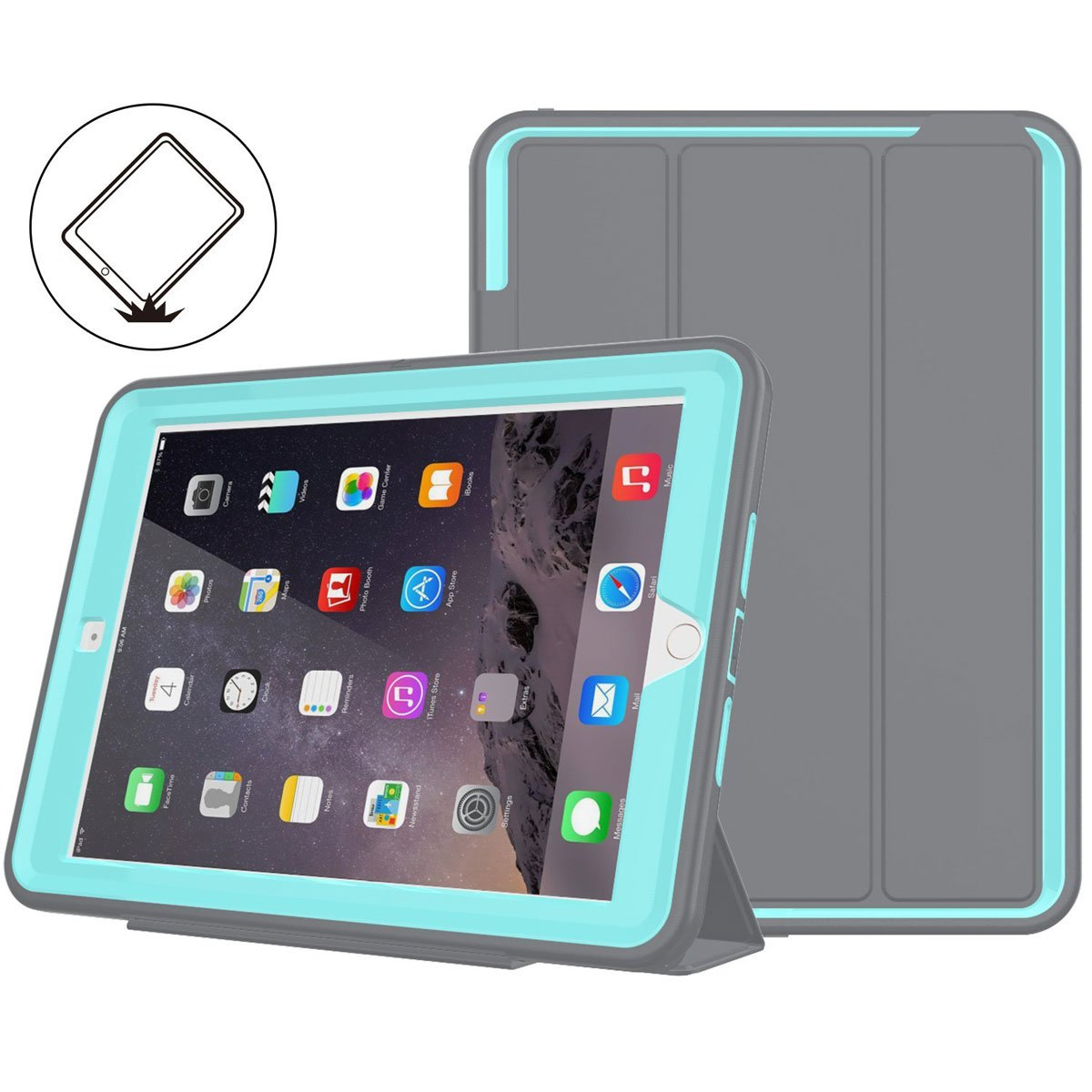 iPad 6th/5th Generation Case,iPad 9.7 Case 2018/2017,Model(A1893/A1954/A1822/A1823),with Free Screen Protector,Three Layer Heavy Duty Shockproof Protective Stand Case(Gray/Light Blue)