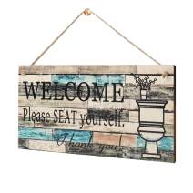 """LEJHOME Bathroom Wall Decor Sign - 14"""" x 7"""" Wood Plaque Sign Wall Hanging Welcome Sign - Welcome Please Seat Yourself - Farmhouse Rustic Wall Art Sign for Kids Guest Bathroom Decoration"""
