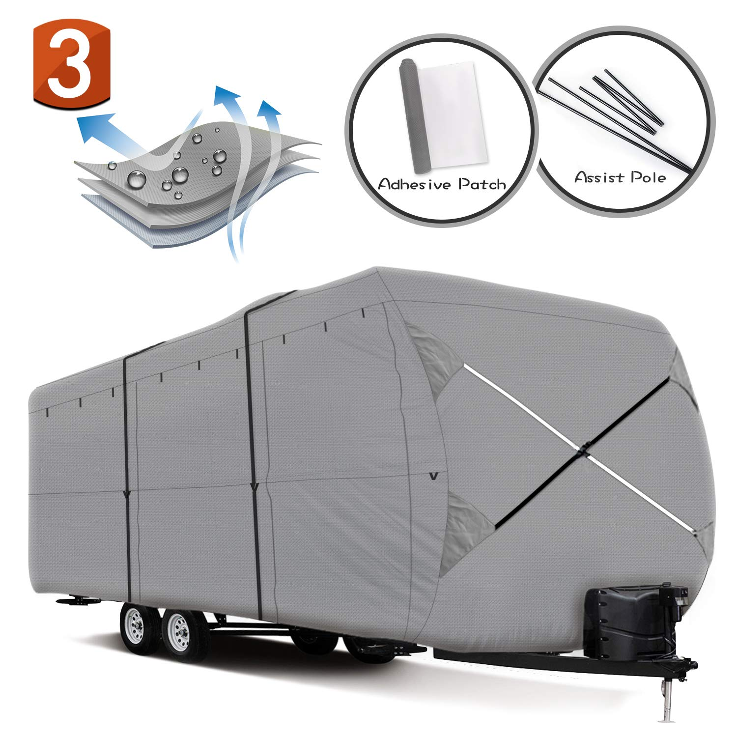 XGEAR Easy Setup Travel Trailer RV Cover Water-Repellent Fabric with Thick 3-ply Top Windproof Buckles & Assist Pole (33'-35')
