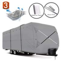 XGEAR Easy Setup Travel Trailer RV Cover Water-Repellent Fabric with Thick 3-ply Top Windproof Buckles & Assist Pole (24'-27')
