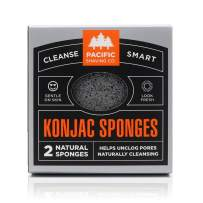 Pacific Shaving Company Natural/Compostable Genuine Korean Konjac Sponge - 2pk   Gentle and Effective Exfoliation, Helps Leave Skin Brighter, Softer, Smoother - Also Perfect for Pre-Shave Prep.