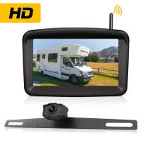 "Wireless Backup Camera with 5"" Monitor for Car/Pickup/Semi Box Truck/Sedan/Rv/Van/Camper Rearview License Plate HD Digital Signal Reverse Backing Up Cam Night Vision Waterproof Rear View for Reversing"