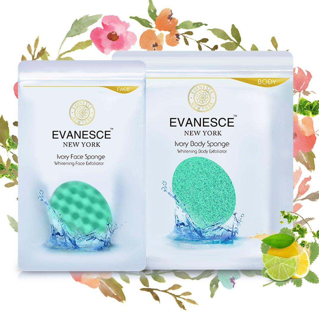 Premium Ivory Body Bath & Facial Sponge Set - Exfoliating Face Sponge & Cleansing Body - Brighten Your Skin & Remove Impurities (1 Set (FBA))