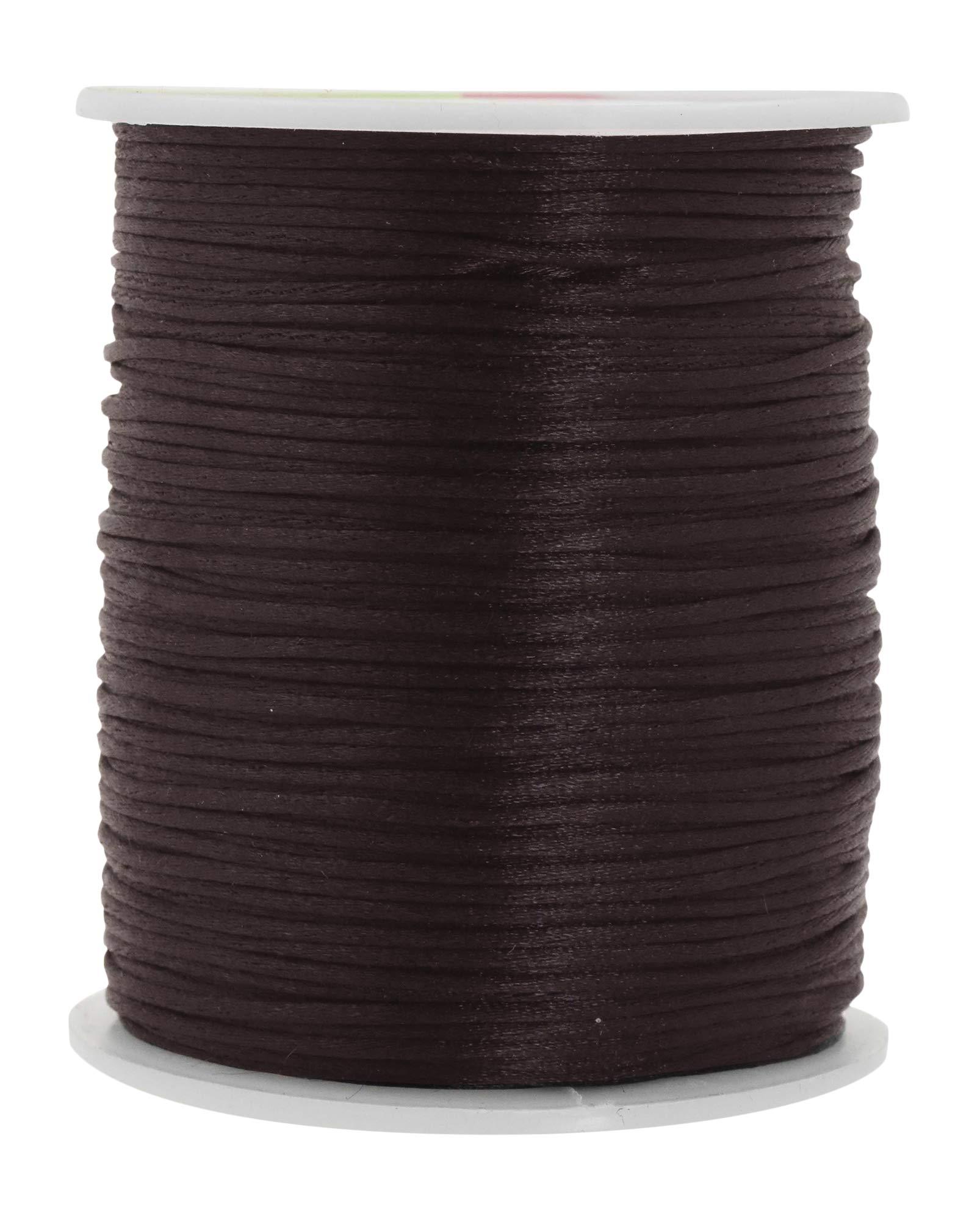 Mandala Crafts Satin Rattail Cord String from Nylon for Chinese Knot, Macramé, Trim, Jewelry Making (Dark Chocolate Brown, 1mm)