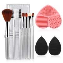 7+2+1+1pcs materasu Original Makeup Brush Set, Synthetic Foundation Face Powder Blush Eyeshadow Brushes Makeup Brush Kit with Makeup Purse/Blender Sponge and Brush Cleaner