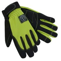 Womanswork Stretch Gardening Glove with Micro Suede Palm, Lime Green, Large