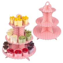 """3 Tier Cake Stand 2 Set, (12""""W x 13.5""""H) Round Cardboard Cupcake Stand Dessert Tower Decoration for Wedding & Home & Birthday Party Serving Platter"""