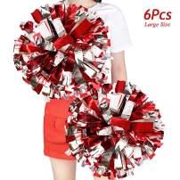 M&C Music Color 6pcs 13'' Metallic Cheerleader Pom Poms, Cheering Squad Spirited Fun Cheerleading Pom Poms Cheer Pom Poms, Pompoms Cheerleader with Ring for Sports Team Dance Fancy Dress(100g)