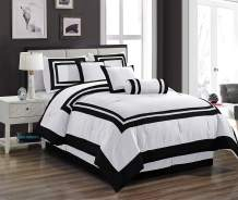 Chezmoi Collection 7 Pieces Caprice White with Black Hotel Comforter Set King Size Bedding