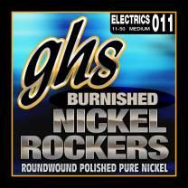 GHS Strings BNR-M Burnished Nickel Rockers, Polished Pure Nickel Electric Guitar Strings, Medium (.011-.050)