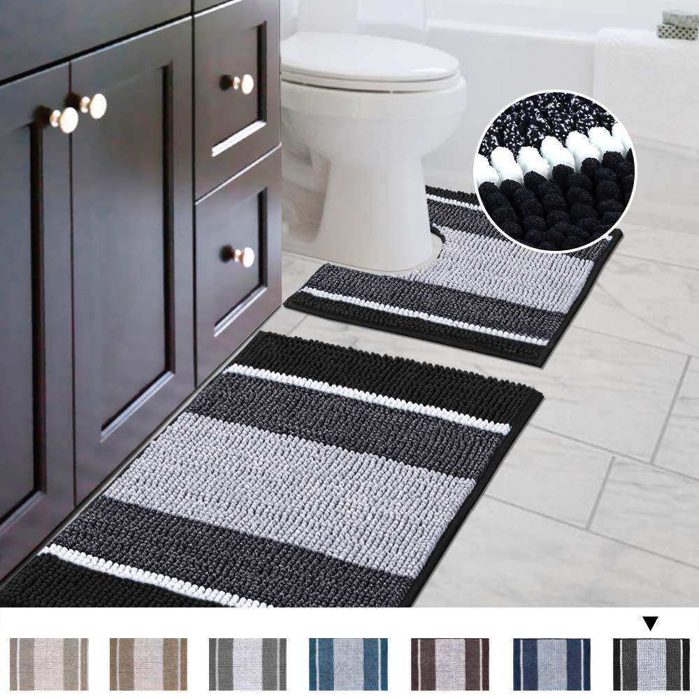 "Bathroom Gradient Rugs Luxury Chenille Mat Set, Soft Plush Shower Rug + Toilet Mat, Microfiber Striped Shaggy Carpet, Machine Washable Bath Mats (Curved Set, 32"" x 20""/20"" x 20"", Black)"