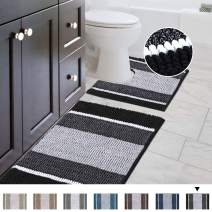 "Bathroom Gradient Rugs Luxury Chenille Mat Set, Soft Plush Shower Rug + Toilet Mat, Microfiber Striped Shaggy Carpet, Machine Washable Bath Mats (Curved Set, 32"" x 20""/20"" x 20"", Black)"