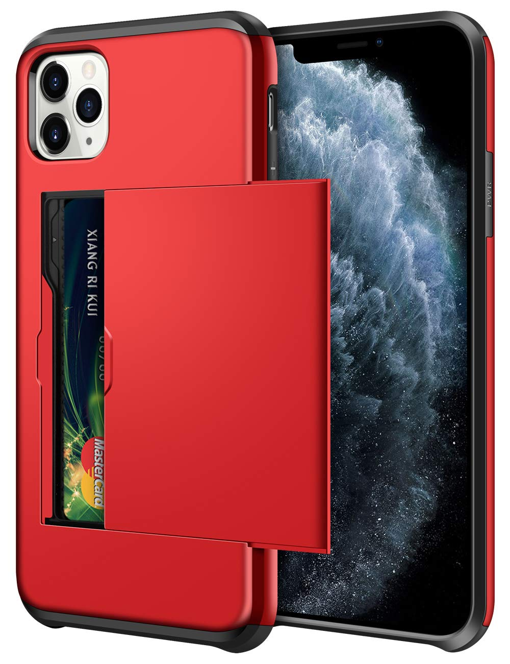 SAMONPOW Wallet Case for iPhone 11 Pro Case with Card Holder Dual Layer Hybrid Shell Heavy Duty Protection Shockproof Anti Scratch Soft Rubber Bumper Cover Case for iPhone 11 Pro 5.8 inch Metallic Red