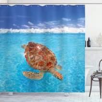 "Ambesonne Turtle Shower Curtain, Sea Turtle Chelonia Mydas on Water Surface Caribbean Beach Tropics, Cloth Fabric Bathroom Decor Set with Hooks, 84"" Long Extra, Blue Brown"